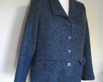 Vintage womens suit Marika Couture Tweed blue suit - jacket with matching skirt size large