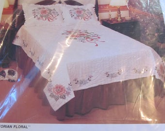Victorian Floral Pillow Sham Stamped Cross Stitch