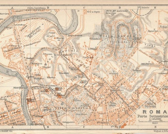1930 Rome Italy Antique Map