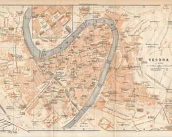 1909 Verona Italy Antique Map