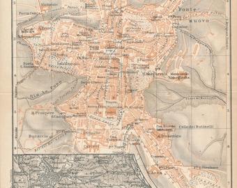 1928 Perugia Italy Antique Map