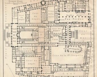 1913 Palais De Justice, Paris France Antique Map