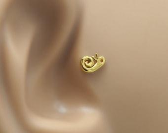 Snail Helix Earring - 16g Tragus Stud - Snail Helix Stud - Gold Helix Earring - Helix 16 Gauge Stud - Cartilage Stud - Snail Tragus Earring