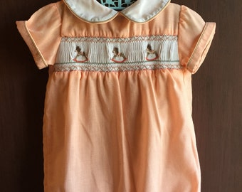 Vintage Baby Boy Hand Smocked Bubble Romper with Rocking Horse Design 2T