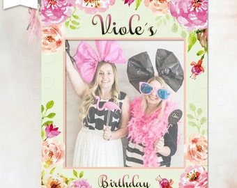 Birthday Photo Booth Prop Frame - Bridal Shower Photo Both Prop Frame - Wedding Photo Prop - Romantic Floral Frame - DIGITAL FILE