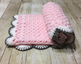Pink Grey Blanket, Granny Square, Crochet Baby Blanket, Pink Baby Blanket, Crochet Afghan, Crochet Blanket, Handmade Blanket, Ready to Ship