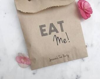 Baby Shower Favor Bags - EAT ME! Alice in Wonderland Mad Hatter Tea Party - Favor Bags - Custom Printed on Kraft Brown Paper