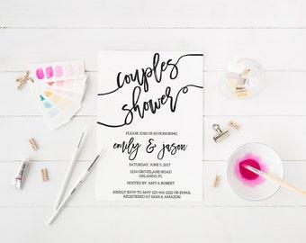 Kraft Black and White Couples Shower Invitation Bridal Shower Invitation  Bachelorette Party Invite Printable Invitation Calligraphy Invite