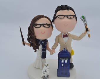 Witch bride and Dr. Who groom - Harry Potter/Dr. Who Theme Wedding cake topper. Wedding figurine.  Handmade. Fully customizable.