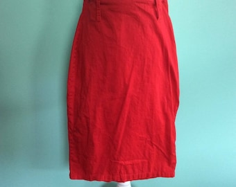 Red 1950 Rockabilly Pinup Style Pencil Wiggle Skirt - Size M