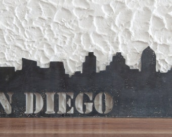 "22""x8"", San Diego skyline metal art, steel art work, skyscrapers, Gifts Under 80, Industrial, Husband Gift, Christmas Gift, Home Decor"