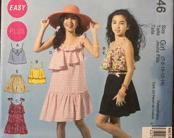 McCalls M6546 - Girl's Easy Summer Dress, Tank Top, and Shorts with Asymmetrical Ruffle Option - Size 7 8 10 12 14
