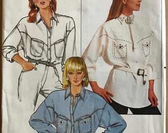 Butterick 4693 - 1980s Button Front Top with Yoke and Pointed Collar - Size 8 10 12