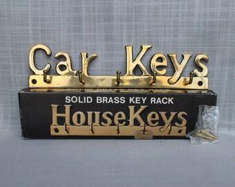 Brass Car Keys Key Rack, Vintage Brass Keys Hanger, Car Home Keys Holder, Brass Wall Mounted Hanging Decor Car Keys in Box w/Screws