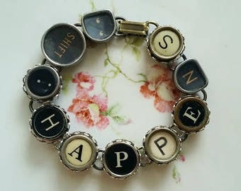 Typewriter Key Bracelet, SHIFT HAPPENS, Black and White, Bronze Bracelet, Steampunk Jewelry, Upcycled Jewelry, Shift Key, Antique Typewriter
