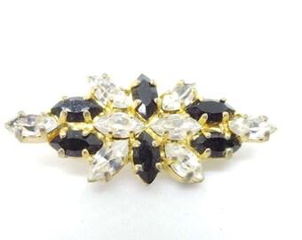 Vintage brooch - black and clear diamante stones