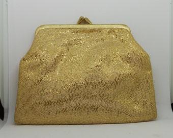 Vintage evening bag - gold clutch purse or make-up bag.