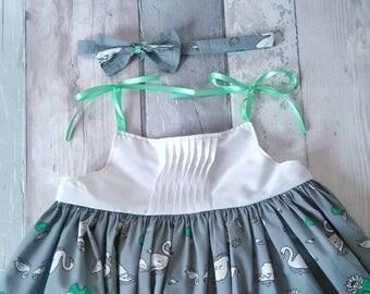 Girls Summer Dress - Girls Swan Dress - Girls Dress - Girls Strappy Dress - Girls Party Dress - Girls Grey Dress