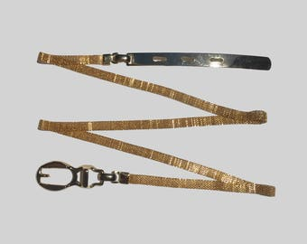 Vintage Gold Mesh Belt / Retro Metallic Belt / Metal belt