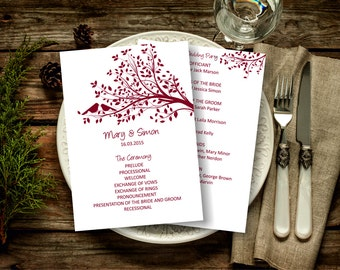 Burgundy Wedding Program Template, Birds on a Tree Wedding Program, Download Instantly wedding program template, digital PDF, you print, DIY