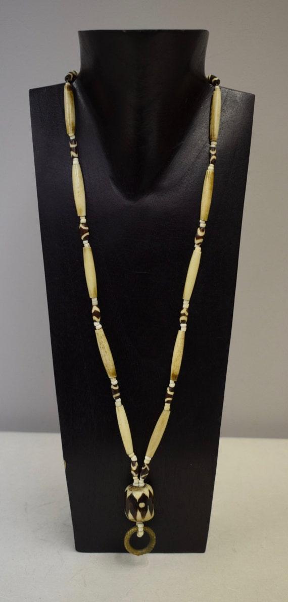 Necklace Vintage African Dogon Brass Ring  Batik Beads Tubes Ostrich Eggshell Handmade Tribal Brass Ring Batik Beads Bead Jewelry Necklace D