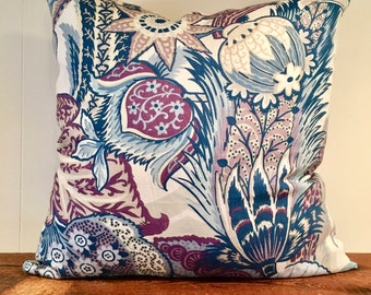 "Schumacher ""Zanzibar"" Linen Pillow Cover"