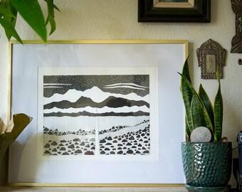 pen ink illustration landscape drawing Eastern Sierras print black and white wall art