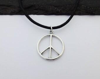 Peace Choker Necklace, Peace Sign, Charm Necklace, Black Cord Necklace, Peace Sign Necklace, Charm Choker, Peace Sign Choker, Peace Gift