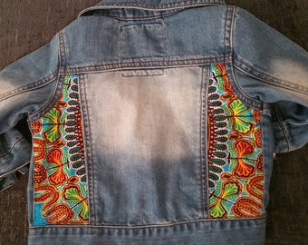 Baby Boy's customised African Print Jeans Jacket