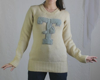 50s Cream Cheerleader Sweater // Vintage Tan T Megaphone Knit Pullover Long Sleeve Sweater // Size: S