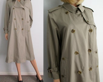 Trench coat mackintosh rain coat, beige, vintage retro, double breasted, womens, medium