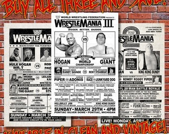 WWF Wrestlemania 1, 2 and 3 Event Posters (Save when you buy all THREE)