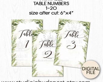 Green Wedding Table Numbers 1-20, Printable Table sign, green table number, forest table numbers, Rustic table sign, event table number,