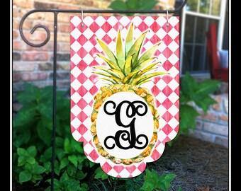 Personalized Pineapple Flag, Summer Garden Flag, Spring Garden Flag,  Initial Garden Flag,