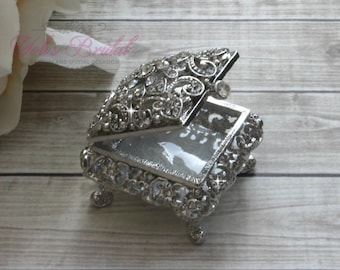 FAST SHIPPING!! Beautiful Swarovski Crystal Ring Box, Wedding Gift, Wedding Rings, Ring Bearer, Anniversary Gift, Jewelry Box, Ring Holder