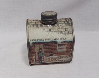 Absolutely Pure Maple Syrup Tin, Log Cabin Tin, 8.45 FL. OZ.