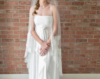 waltz length veil, lace trimmed veil, off white veil, long veil