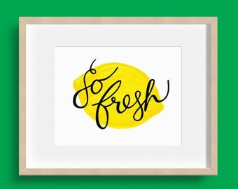 Wall Art Print - So Fresh Lemon Yellow  - Fresh Lemon Yellow Art, Fresh Lemon Yellow Art, Fresh Lemon Yellow Print, Yellow Home Decor Art