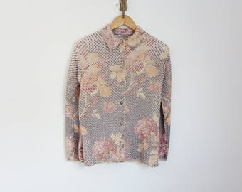 vintage 90s textured pleated floral print top