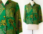 vintage 1960s embroidered jacket <> 1960s embroidered peacock jacket <> 60s green satin jacket with embroidery