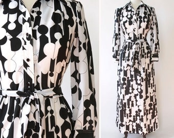 vintage 1970s Lanvin dress <> 1970s Lanvin maxi dress <> 70s black and white Lanvin shirtwaist dress <> geometric print Lanvin maxi dress