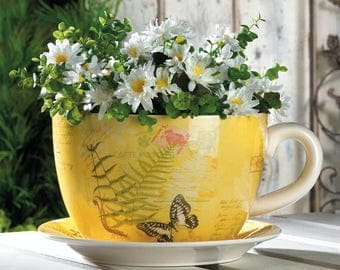 Yellow Tea Cup Planter with Butterfly Pattern - Spring Garden Decor