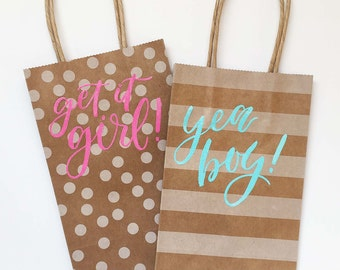 Yea boy! Get it girl! | 5.25x8.5 Kraft Bags | Handlettered Blue and Pink Embossing | Set of 2
