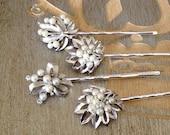 Trifari white pearl hair pins, something old, silver, bobby pins, 1920s wedding, rustic, rhinestone leaf, hair pins, bridal, bridesmaid gift