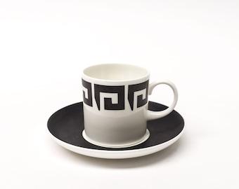 Susie Cooper Wedgwood - Black Keystone Coffee Cup Duo