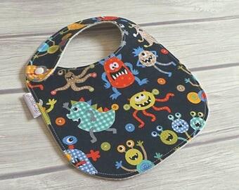 Little Monster Baby Bib / Side Snap Baby Bib / Drool Bib / Teething Bib / Organic Cotton Fleece / Baby Boy