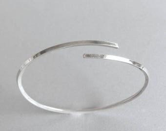 Thin Sterling Silver Cuff Bracelet, Open Bangle Bracelet, Simple Stacking Bracelet, Minimalist Jewelry, Delicate Skinny Cuff Bracelet