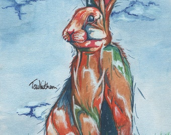 Rabbit Watercolour Art. Woodland Animal Art. Colourful Rabbit Portrait. For- Woodland Nursery Art, Forest Animal Painting