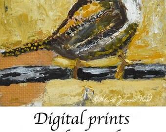 Yellow Wren Bird Painting Print. Animal Portrait Art. Wildlife Apartment Art Print. Cottage Chic Decor. 2