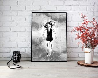 I'm nobody's puppet, Puppet master, Girls Wall Art, Bedroom Decor, Surreal Art, Acrylic Painting, Art Prints, Black and white art, Ink Art